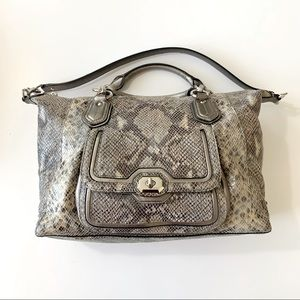 Coach Campbell Exotic Python Leather Satchel Purse